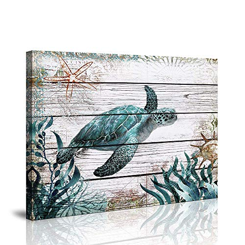 Bathroom Wall Decor Ocean Sea Wall Art Green Turtle Pictures Artwork Painting Ocean Decor Canvas Prints Nautical Bathroom Art Pictures Canvas Wall Art Decor Canvas Framed Prints Bedroom Ready to Hang