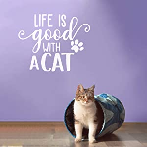 """Vinyl Wall Art Decal - Life is Good with A Cat - 22"""" x 27.5"""" - Cute Kitty Paw Home Apartment Bedroom Living Room Decor - Trendy Furry Pet Lovers Work Office Business Indoor Quote (White)"""