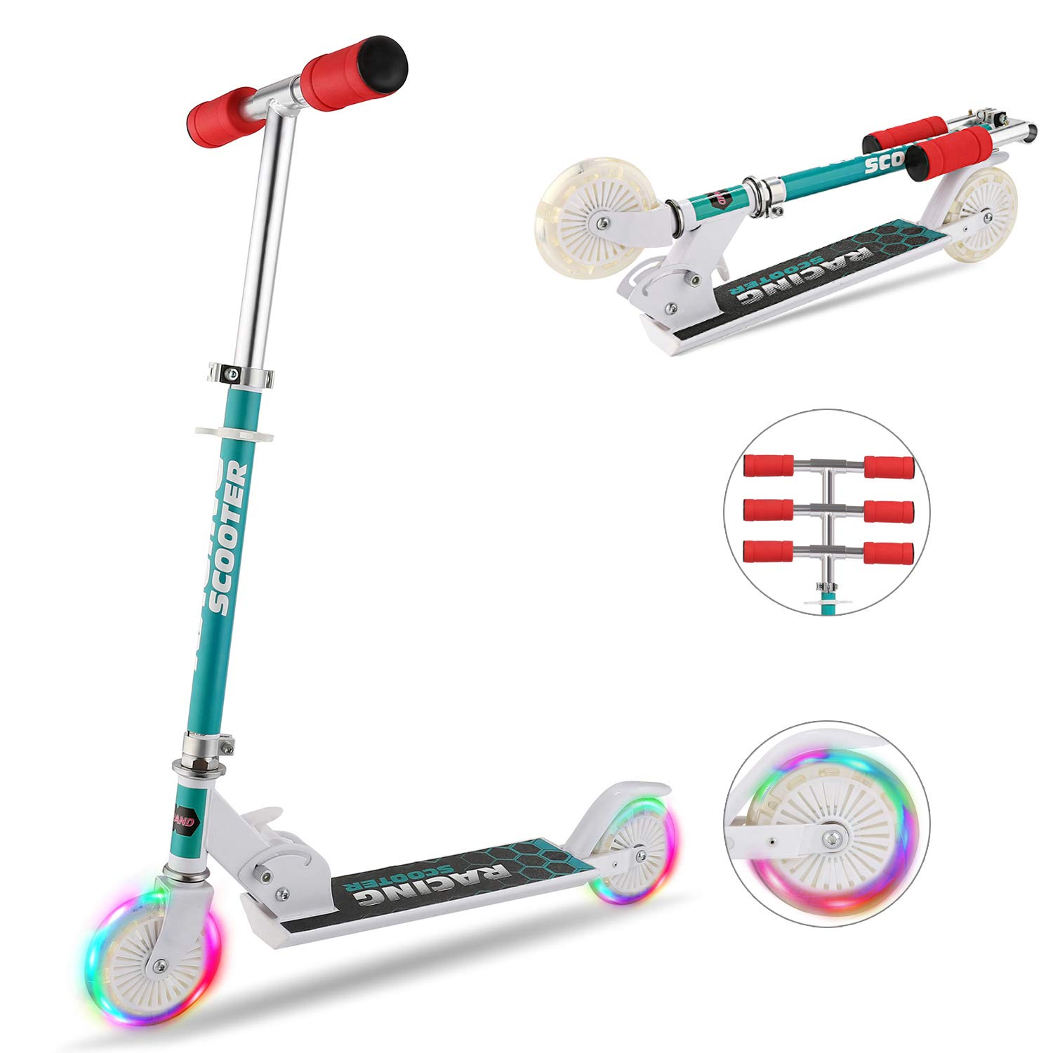 Hikole Scooter for Kids with LED Light Up Wheels, Adjustable Height Kick Scooters for Boys and Girls, Rear Fender Break|5lb Lightweight Folding Kids Scooter, 110lb Weight Capacity by Hikole