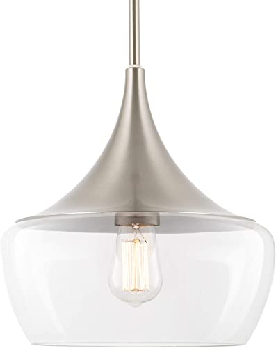 Kira Home Ava 12 Modern Industrial Schoolhouse Pendant Light with Clear Wine Glass Style Shade, Adjustable Hanging Height, Brushed Nickel Finish