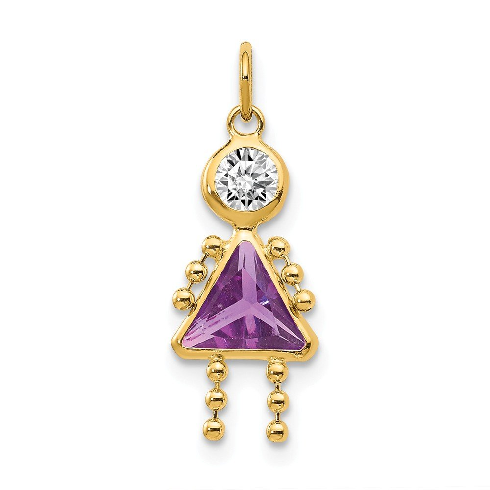 14k Yellow Gold February Girl Birthday Month Colored Stone Charm