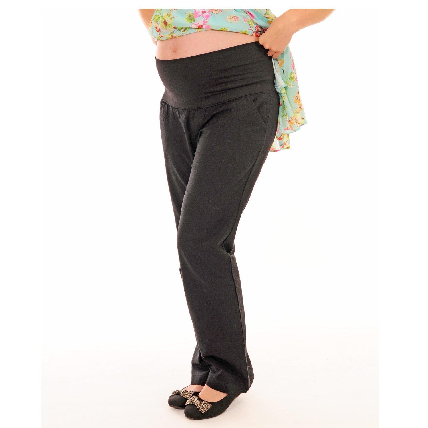 Black Linen Loose Fit Maternity Pregnancy Clothing Over Bump Trousers