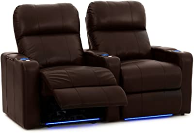 Octane Turbo XL700 Row of 2 Seats, Straight Row in Brown Leather with Power Recline