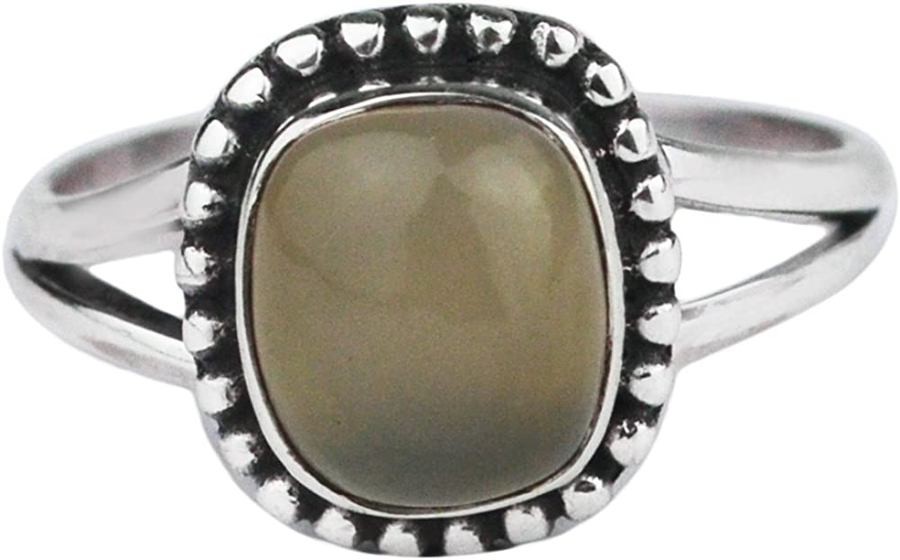 925 Sterling Silver Gray chalcedony gemstone Ring Size 7.5 US 3.12 g cci