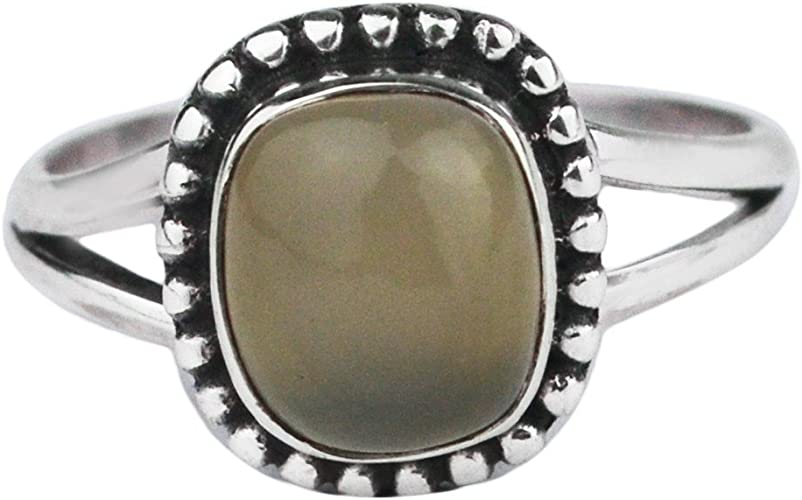 Purple Dendritic Chalcedony Ring Sterling Silver Artisan Ring Le Chien Noir Gift for Her Size 7.5