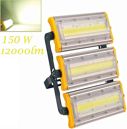 Viugreum LED Flood Light, 150W New Craft Waterproof Outdoor Work Lights, 6000K Warm White, 12000LM Outdoor Security Floodlights for Garage, Garden, Lawn, Yard, Warehouse, Factory