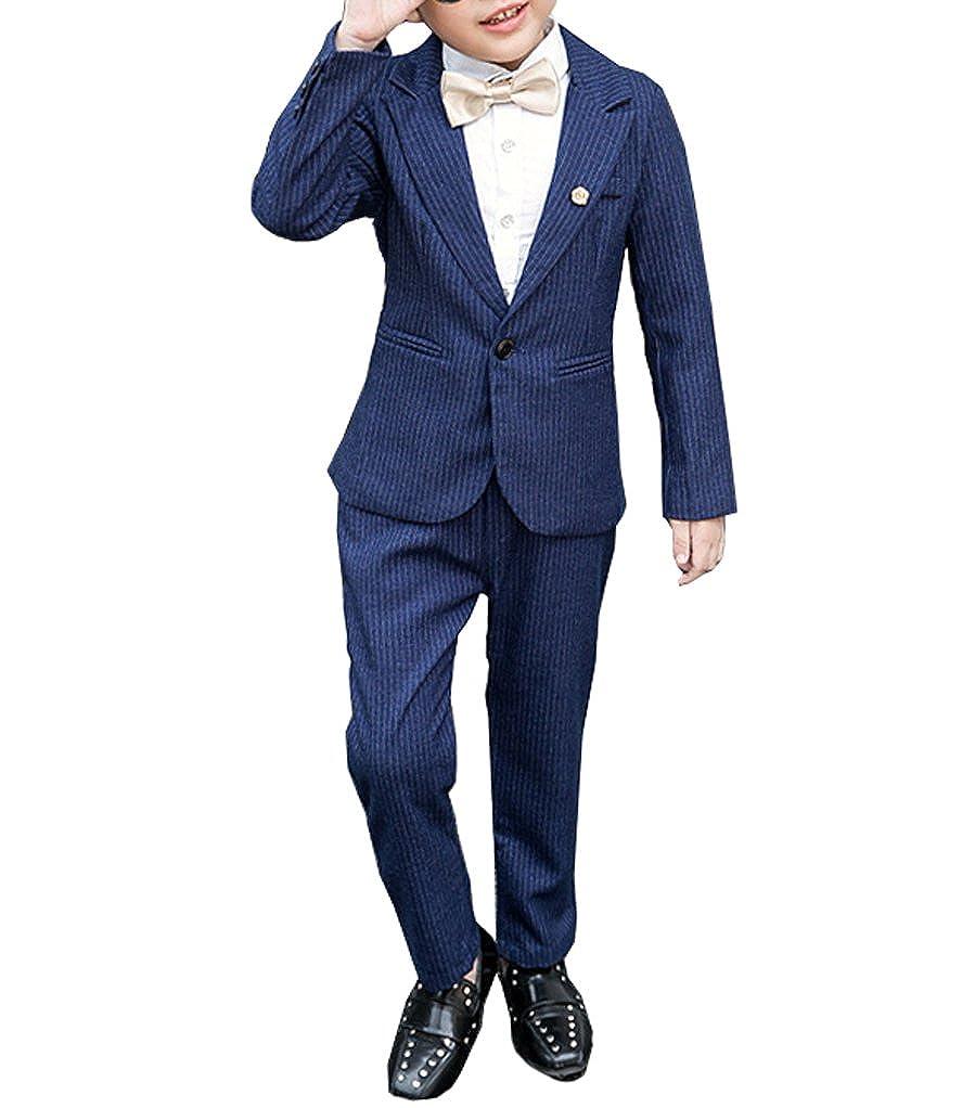 Boys Navy Blue Pinstripe Suit Set 2 Pieces Blazer Jacket and Pants Set Boys Tuxedo Suits