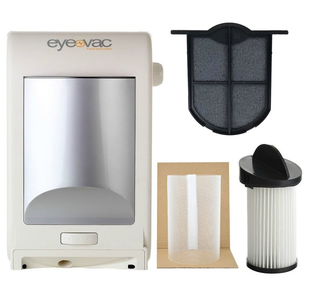EyeVac EVPRO Design White Professional Touchless Vacuum Cleaner + Extra Reusable Exhaust Filter + Extra HEPA Pre-Motor Filter + Pre-Motor Flexible Mesh Filter Screen Accessories Bundle by EyeVac