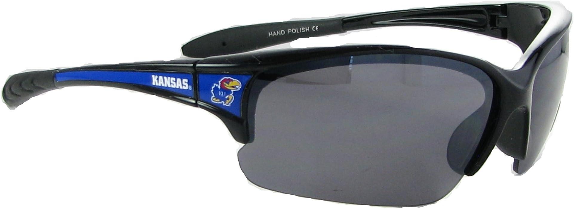 59d9f1b3bcce0 Amazon.com  Kansas Jayhawks KU Black Blue Elite Mens Sunglasses S7JT ...