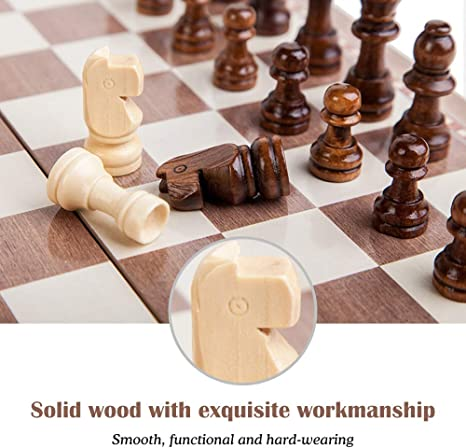 Roeam Wooden Chess Set International Chess Entertainment Game Chess Set with Folding Board Chess Set