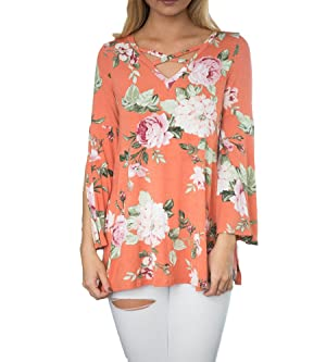 Women's Long Sleeve Floral Loose V Neck T Shirt Tops Casual Blouse (S, Orange)