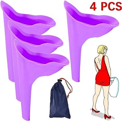 Dr.FITNESS Dispositivo Urinario Port/átil Discreto Reutilizable Orinal Embudo para Orinar de Pie para Mujer Hombres Viajar Ni/ños Camping Senderismo Servicios Ba/ños P/úblicos Orinales de Viaje