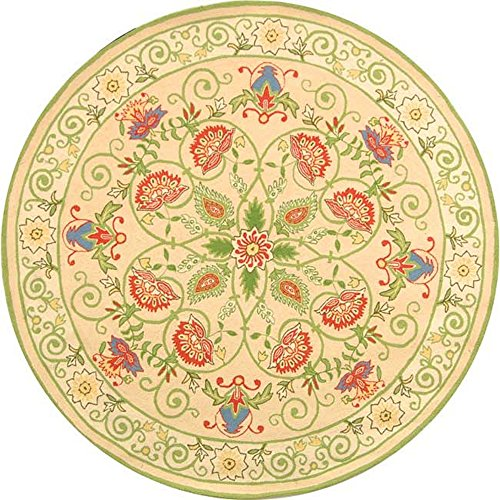 Safavieh Chelsea Collection HK330A Hand-Hooked Beige and Green Premium Wool Round Area Rug (5'6