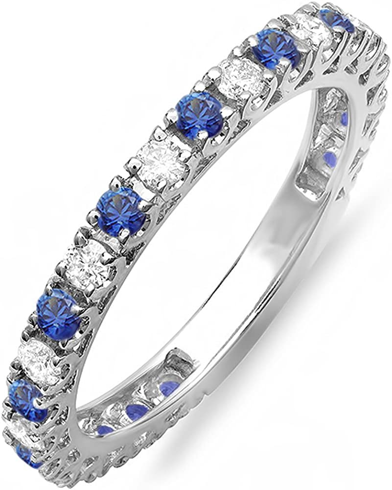 Dazzlingrock Collection 14K White Gold Blue Sapphire And White Diamond Eternity Sizeable Stackable Ring Anniversary Wedding Band