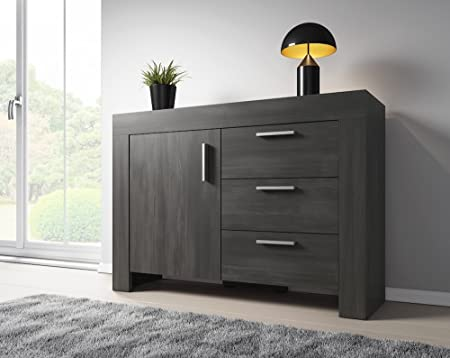 Sideboard 120 Cm ~ Sideboard rome 1 door 3 drawers 120 cm black wood effect: amazon.co