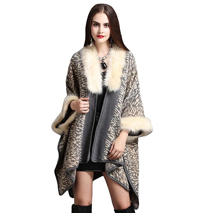 ecfcd50cf0d80 Women Luxury Faux Fur Shawl Wraps Cloak Coat Sweater Cape Poncho ...