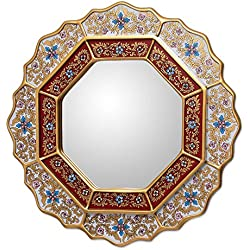 NOVICA White and Red Reverse-Painted Glass and Wood Framed Wall Mounted Round Mirror, White Star'