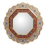 Cheap NOVICA White and Red Reverse-Painted Glass and Wood Framed Wall Mounted Round Mirror, 'White Star'