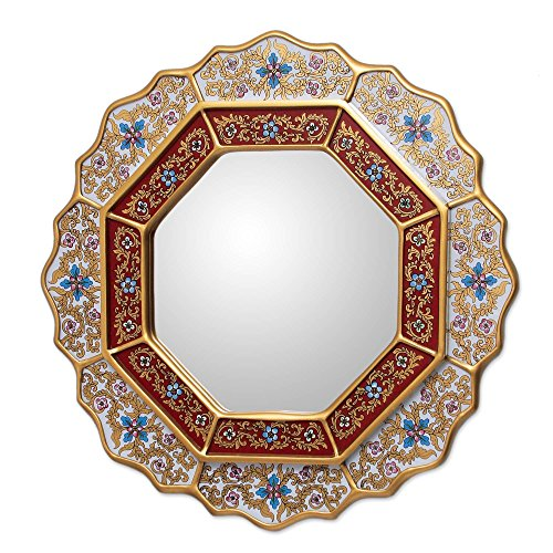NOVICA White and Red Reverse-Painted Glass and Wood Framed Wall Mounted Round Mirror, 'White - India Frame Glasses Round