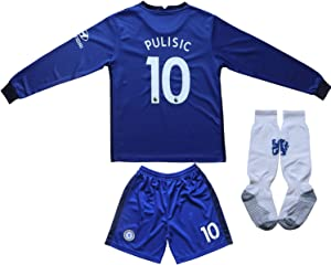 Necm 2020/2021 Chelsea Home #10 Christian PULISIC Soccer Kids Long Sleeve Jersey Shorts Socks Set Youth Sizes