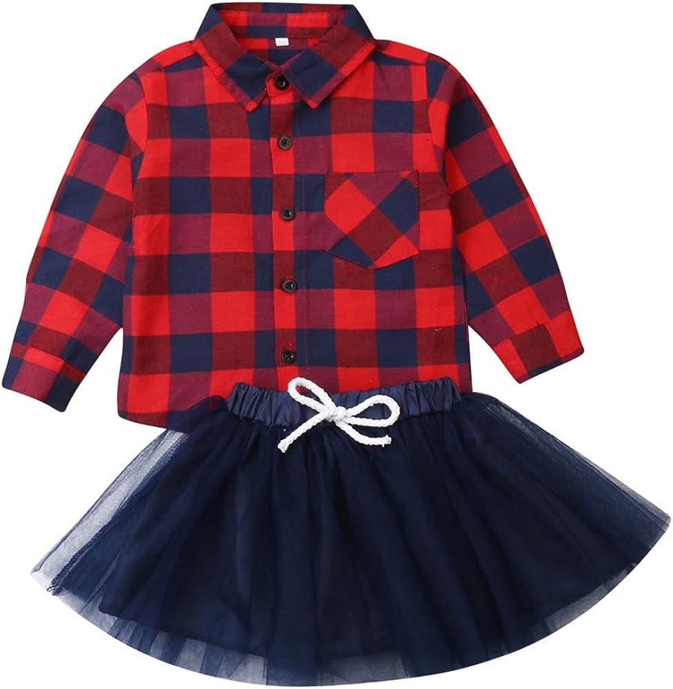 Qinngsha 2 Piezas Camisa de Manga Larga a Cuadros para niñas pequeñas con Botones Tops + Falda de Tul Vestido de tutú Conjunto de Trajes de Navidad (Rojo, 3-6 Months): Amazon.es: Ropa