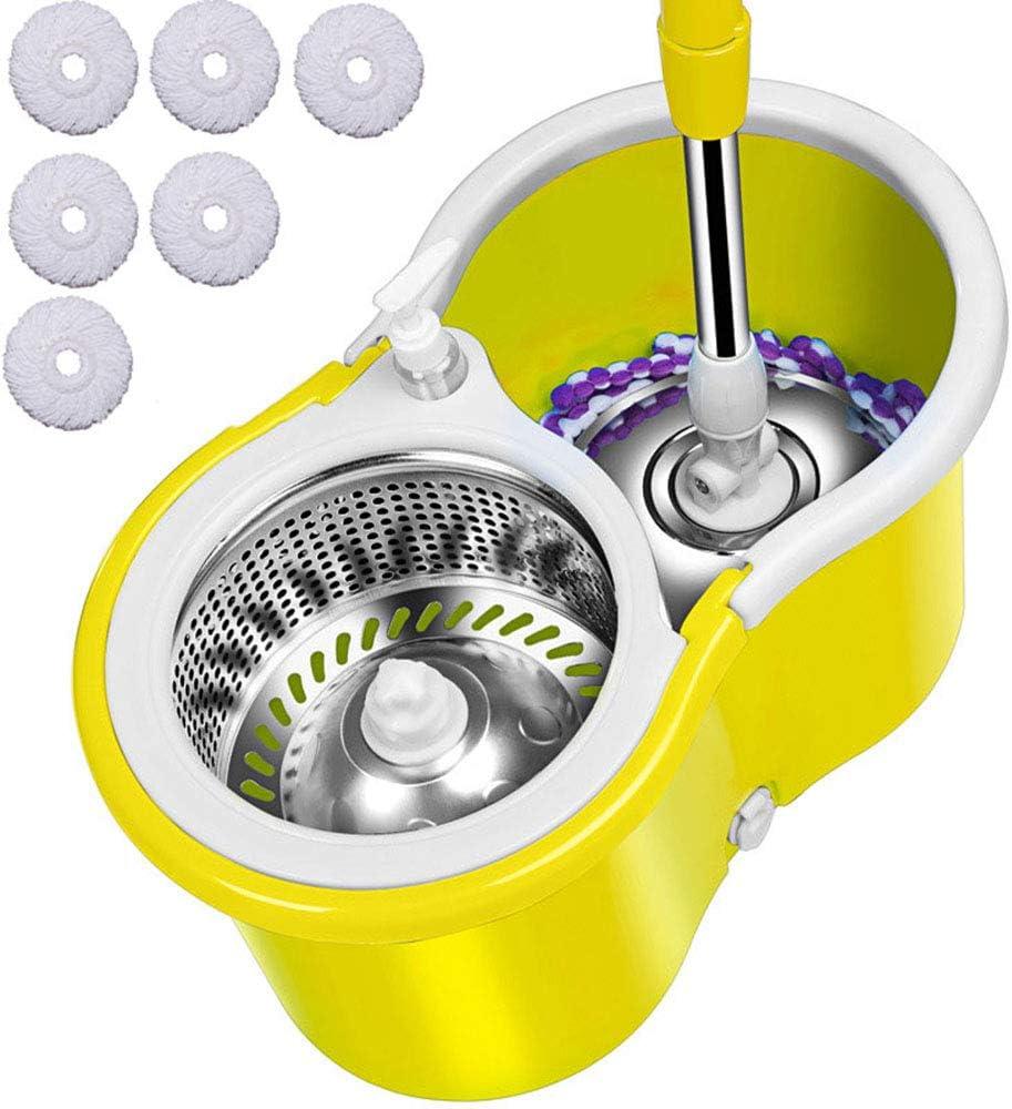 Balai Magique Seau Et Balai Essoreur avec roulettes Et 2 T/êtes De Balai en Microfibre,360 Spin Dry Basket /& Poign/ée T/élescopique Ensemble De Seau Spinning Mop pour Le Nettoyage des Sols