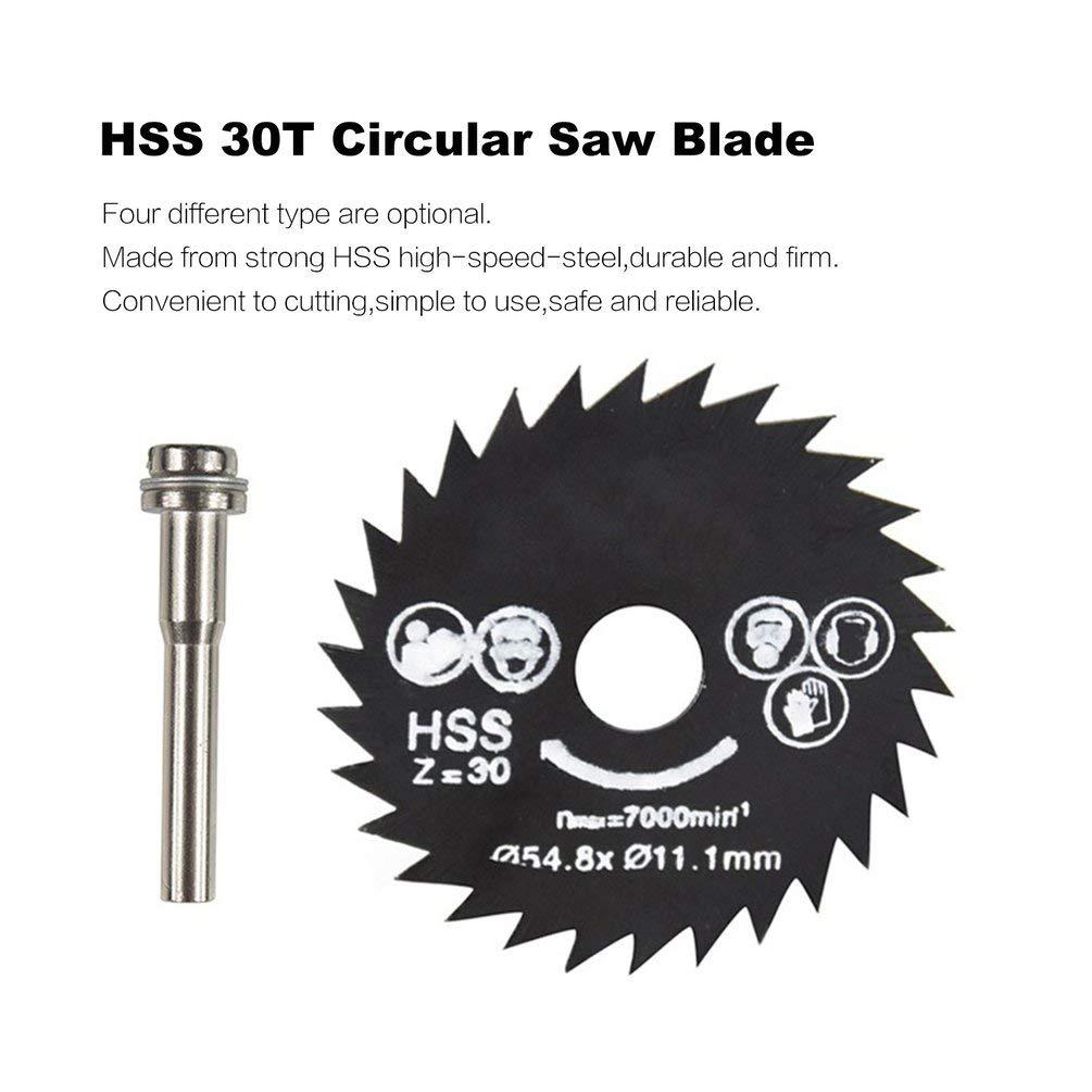 54 mm, tama/ño Mini, Madera, Cuchillas de Corte con Broca portabrocas para Metal Cuchilla de Sierra Circular HSS