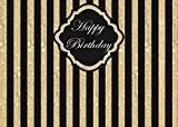 Tang Jie Happy Birthday Photography Background Golden And Black Stripe Photo Party Decoration Backdrops Studio Props Booth Vinyl 7X5FT