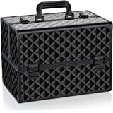 OUDMAY by Amazon - Makeup Case - Professional Portable Aluminum Cosmetics Storage Box With Locks and Folding Trays Black