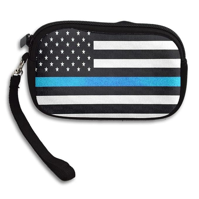 fa23d6047262 Thin Blue Line American Flag Women s Funny Purses Cash Bag Card Strap Pouch  Coin Wallet