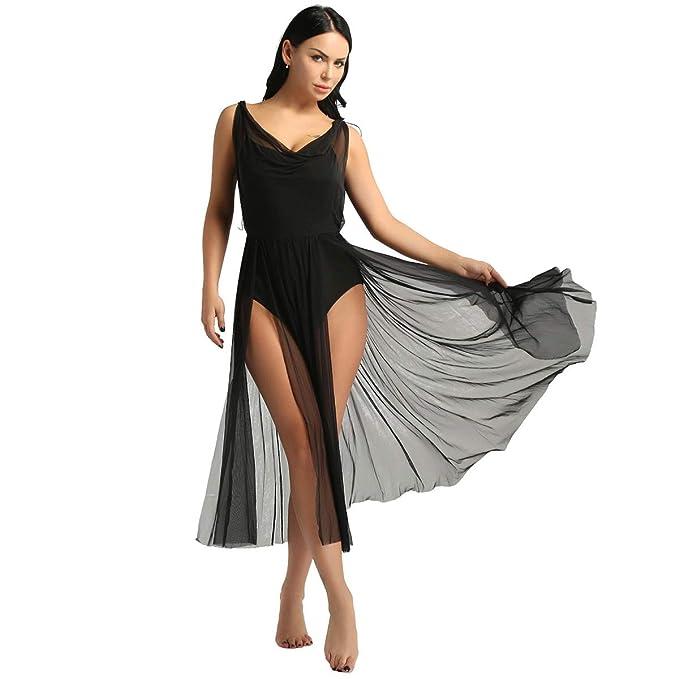 dPois Vestido Danza Ballet Falda Malla Maillot Ballet sin Manga ...