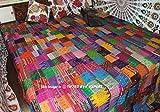 """COR's King Size Patola Silk Patch Work Kantha Quilt , Kantha Blanket Bedspread, Patch Kantha Throw, King Kantha, Kantha Rallies Indian Sari Quilt, Size 90"""" X 108"""""""