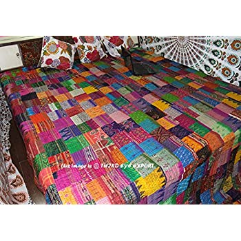Amazon.com: COR's King Size Patola Silk Patch Work Kantha Quilt ... : king quilt size - Adamdwight.com