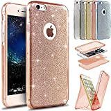 """iPhone 6S Plus Case,iPhone 6 Plus Case,ikasus [Full-Body 360 Coverage Protective] Sparkly Shiny Glitter Bling Front Back Soft Clear TPU Silicone Rubber Case for iPhone 6S Plus / 6 Plus 5.5"""",Rose Gold"""