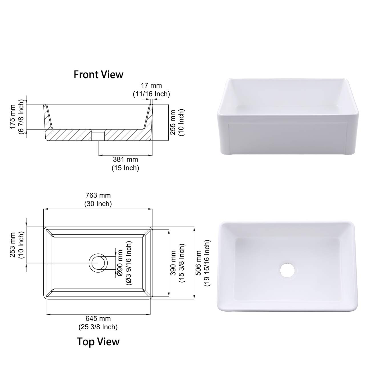 KES cUPC Fireclay Sink Farmhouse Kitchen Sink (30 Inch Porcelain Undermount Rectangular White) BVS117 by Kes (Image #3)