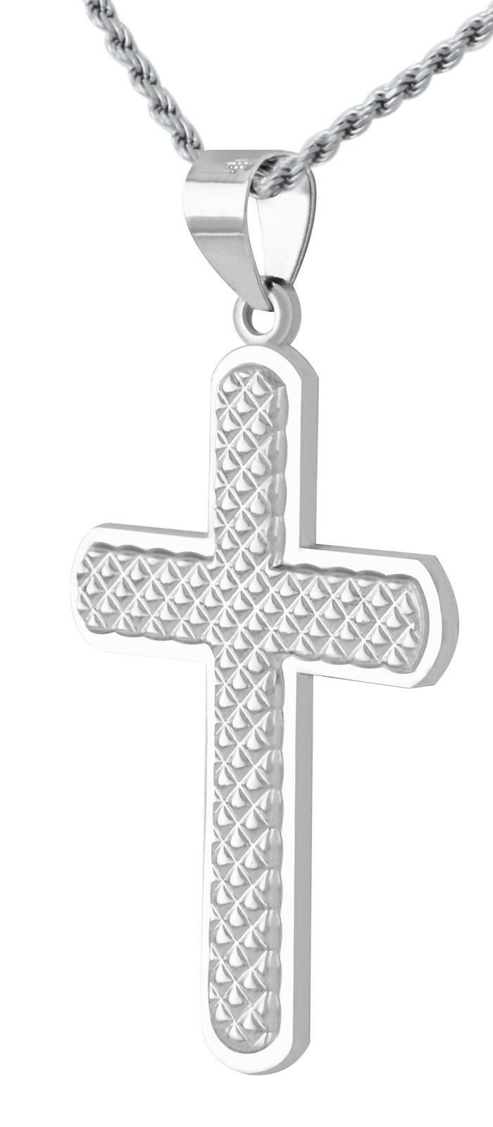 New 1 3/8in Solid 0.925 Sterling Silver Textured Cross Pendant 3.0mm Curb Necklace, 20''