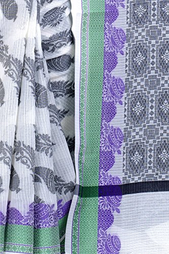 Chandrakala Women's White Supernet Cotton Banarasi Saree(1278WHI) by Chandrakala (Image #4)