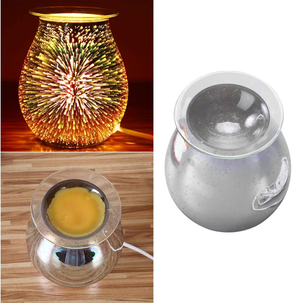 Uonlytech 3D Glass Fireworks Wax Melt Warmer Scented Candle Holder Fragrance Lamp for Home Office Bedroom Living Room Gifts /& Decor