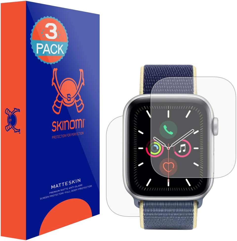 Skinomi Matte Full Body Protector Compatible with Apple Watch Series 6 (44mm)(3-Pack)(Screen Protector + Back Skin Cover) Full Coverage Matte Skin Anti-Glare HD Film