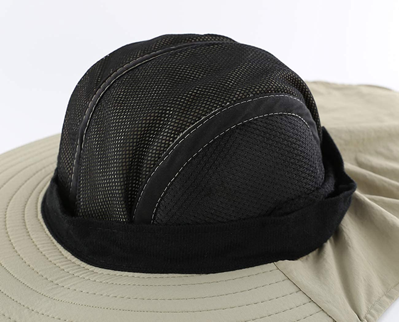 LLmoway Mens Mesh Flap Sun Hat UPF50 Wide Brim Breathable Outdoor Fishing Cap
