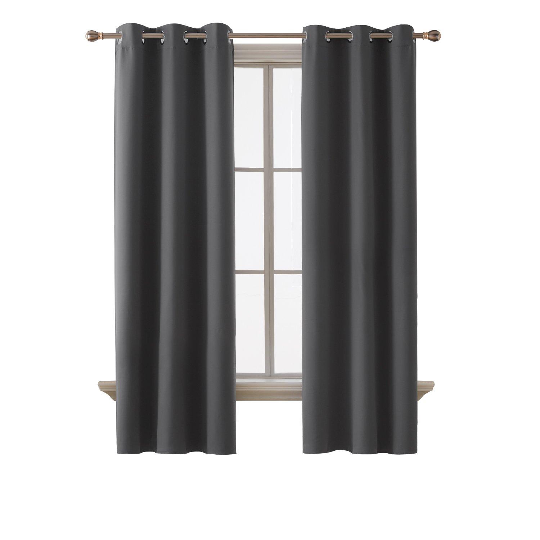 Deconovo Room Darkening Thermal Insulated Grommet Top Window Blackout Curtains Panels Bedroom Dark Grey 42x84-Inch