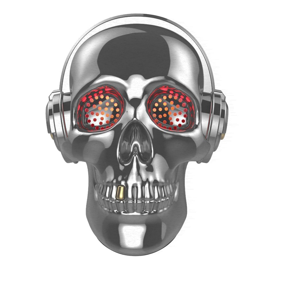 [Updated Version] Skull Wireless Speaker, TOPROAD LED Wireless Super Bass Stereo Sound Cool Skull artwork speaker with Wonderful Eyes Light for Home Party/Office/Business/Bedroom/Outdoor (Gray)