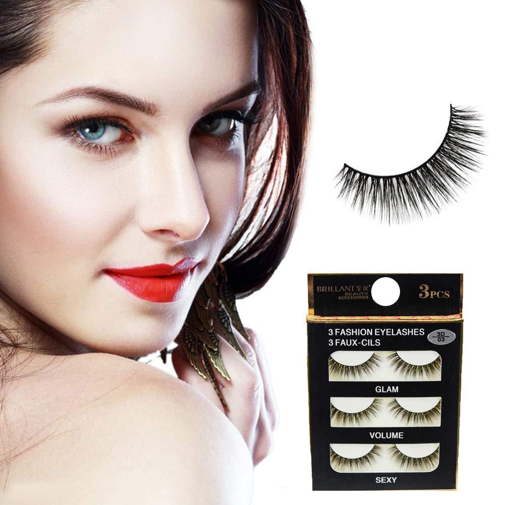 7b5d93c5ca2 Amazon.com : false eyelashes LtrottedJ 3 Pairs 3D Long False Eyelashes  Makeup Natural Fake Thick Black Eye Lashes : Beauty