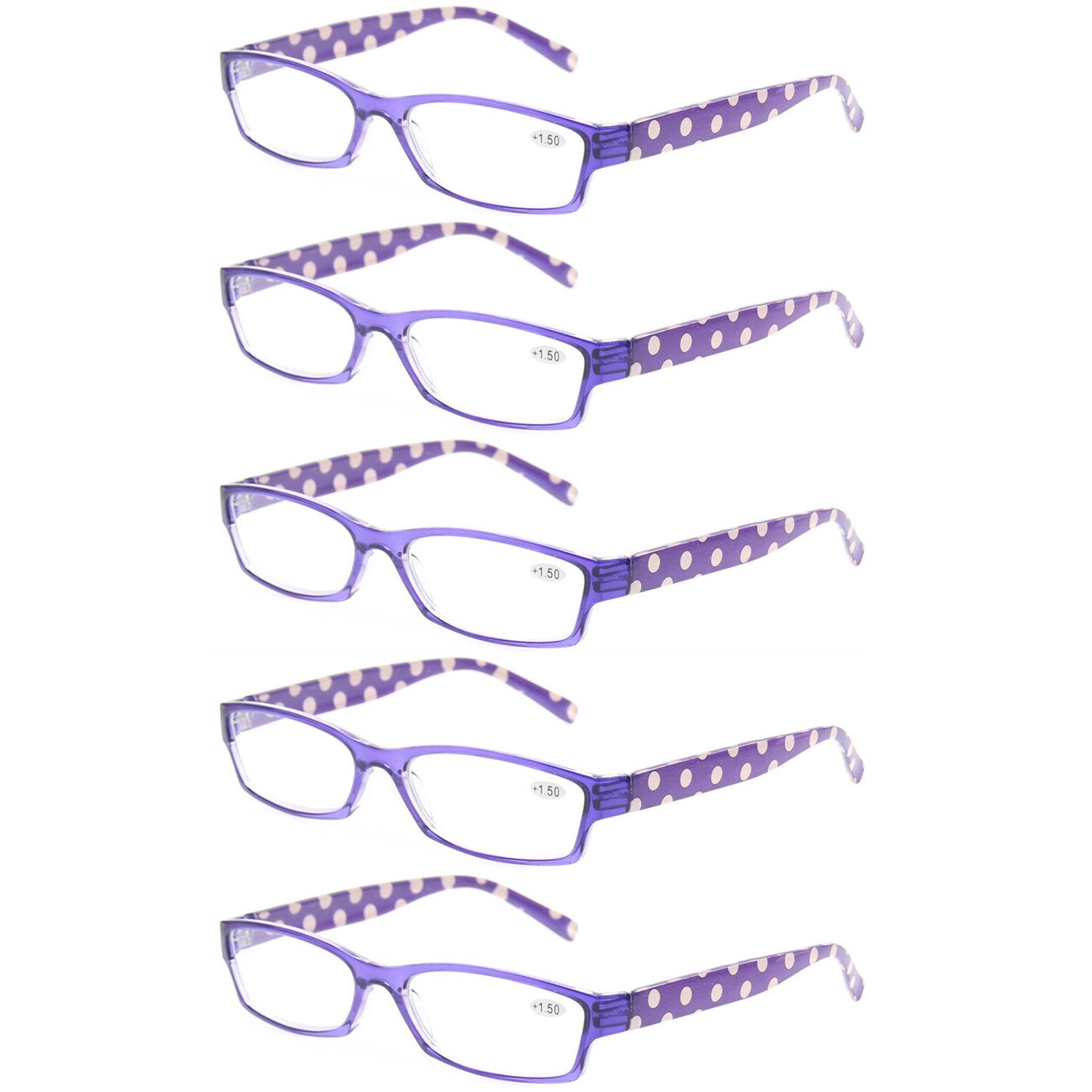 949f573bb8f 5 Pack Fashion Ladies Reading Glasses Lightweight Comfortable Colorful Readers  for Women (5 Pack Blue