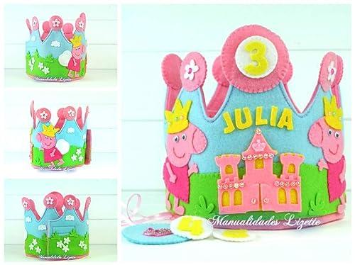 Corona Cumpleaños Infantil Personalizada Peppa Pig Princesa ...