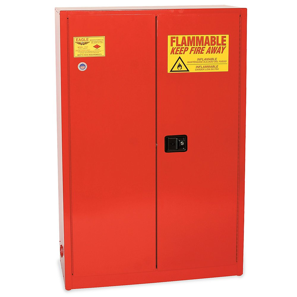 Eagle Paints, Inks, And Class Iii Combustibles Safety Cabinet - 43X18x65'' - 60-Gallon Capacity - Self-Closing Doors - Yellow