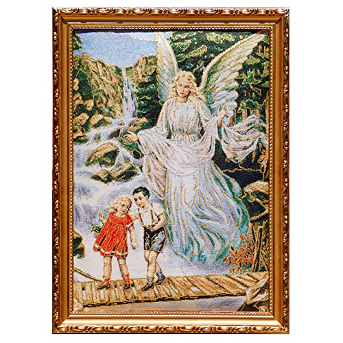 - Guardian Angels on Bridge Framed Tapestry Wall Decor Unique Art Bible Gold Silver Thread Embroidery Shiny Stunning Gift Religious Spiritual Art Bedroom Living Room Nursery Decor Catholic Faith