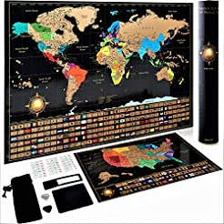 Scratch Off World Map Poster + Deluxe Un...
