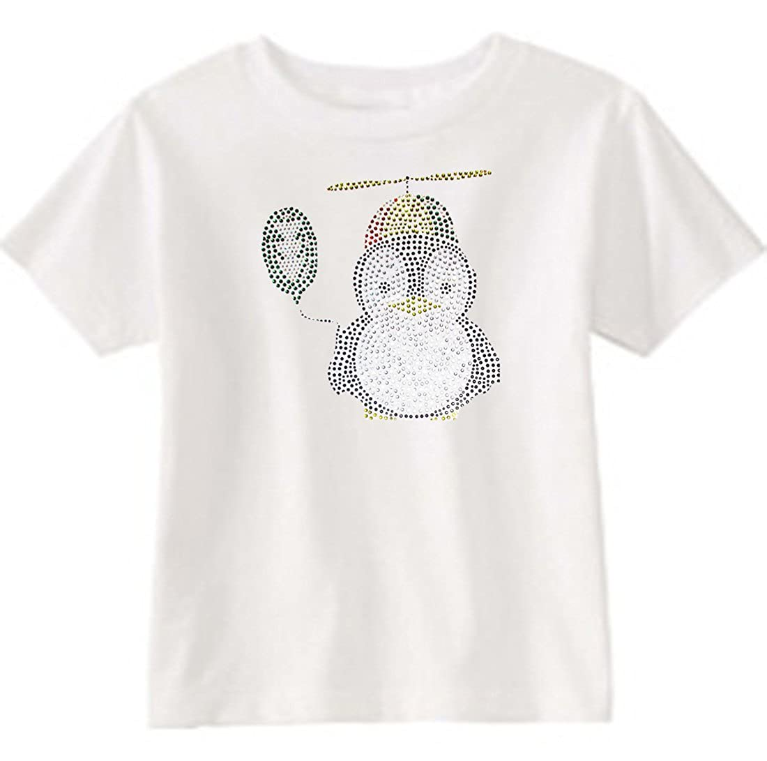 U.S Custom Kids Penguin /& Balloon Rhinestone Toddler T-Shirt