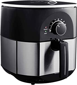 "SPSUPE 3.5Qt 1300W Air Fryer, Stainless Electric Oil-less Oven Cooker with Non Stick Fry Square Basket, Temperature Control and Smart Time, Auto Shut Off, 11 ""(L) X 14 ""(W) X 12.5""(H)"